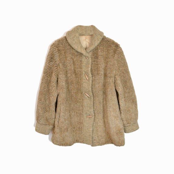 Vintage 70s Faux-Fur Toggle Coat / 70s Outerwear / Beige Toggle Coat - women's medium
