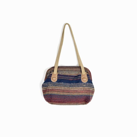 Vintage 80s Boho Striped Shoulder Bag / Vintage Woven Purse in Burgundy Navy & Taupe