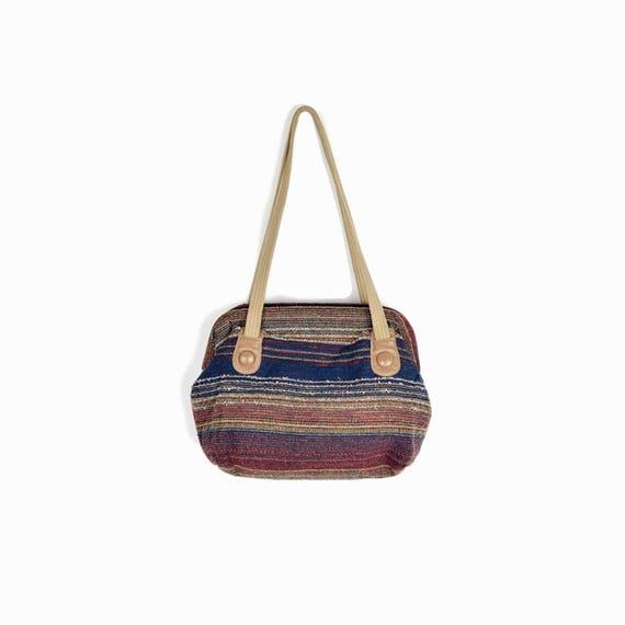 Vintage 80s Boho Striped Shoulder Bag / Vintage Woven Purse in Burgundy Navy & Taupe