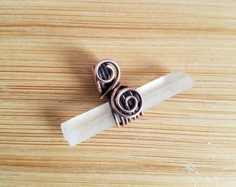 Cloudy Quartz Point Oxidized Copper wire Pendant Handmade Jewelry Wire Wrapped Crystal Healing Copper Swirl crystal healing amulet reiki