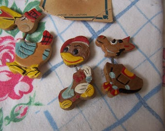 hand painted trembler bobble head brooches