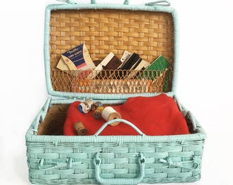Vintage Robins Egg Blue Wicker Basket, Wicker Case, Picnic Basket, Craft Supplies Case, Sewing Basket with Hinged Lid and Handles