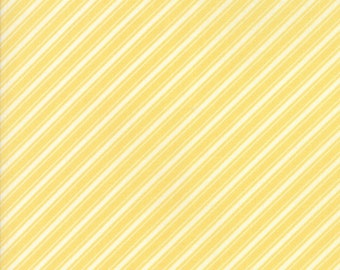 Fig Tree Fabric - Ella and Ollie Fabric Yardage - Moda Quilt Fabric - Yellow Stripe Fabric By The 1/2 Yard -