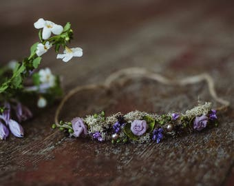 Dusty purple halo tie back Headband