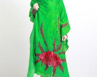 Cobweb felt, bright jade green, felt shawl, light meadow, cobweb shawl, felted flower shawl, spring sparking, made in Lithuania Europe