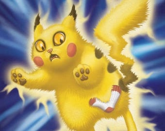 "SALE Pikachu Cat - 8 x 10"" art print Pikachu Kitty Pokemon is having static electricity problems"
