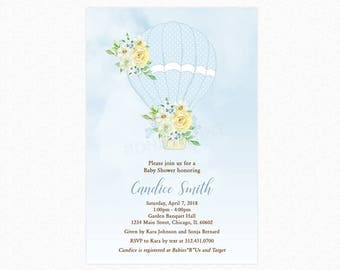 Hot Air Balloon Baby Shower Invitation, Blue, A New Adventure, Personalized, Printable or Printed