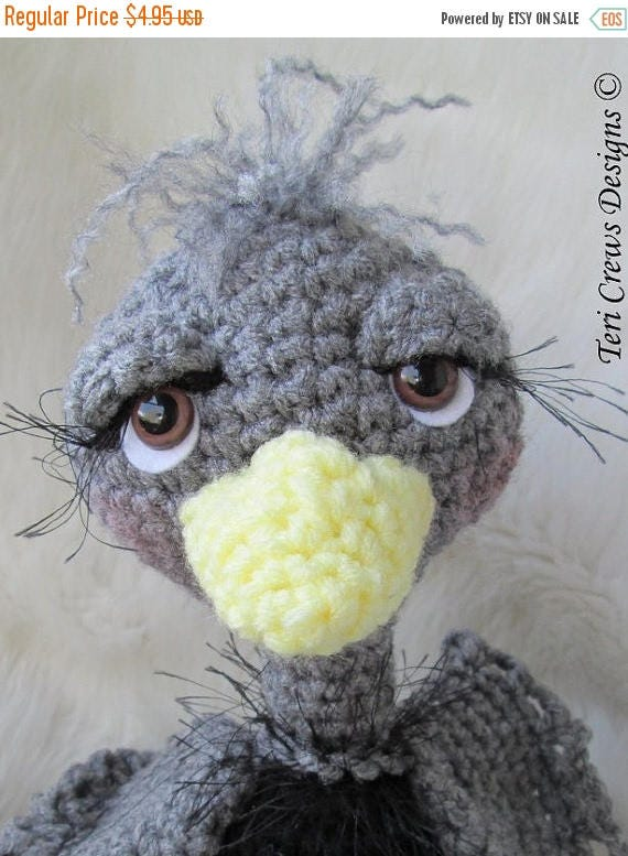 Summer Sale Crochet Pattern Ostrich by Teri Crews Wool and Whims Instant Download PDF Format
