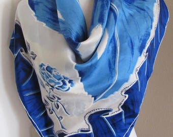 "Scarf My Favorite // Vintage White Blue Soft Silk Scarf // 34"" Inch 88cm square"