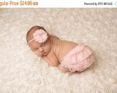 ON SALE Pink Lace Bloomer Set, bloomer and headband, baby bloomer, diaper cover, photography prop, newborn prop