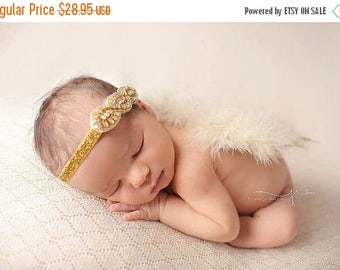 ON SALE NEWBORN Feather Wings, wings and rhinestone headband set, Angel Wings, newborn photography prop, baby wings, fairy wings
