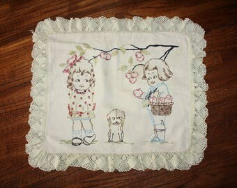 Pillow Cover Antique 1920's Campbell's Soup Kids with Puppy Embroidery Lace Edge