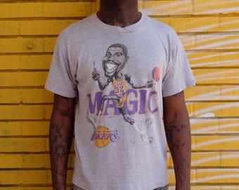 Vtg LOS ANGELES LAKERS Magic Johnson Caricature Tee Shirt nba Basketball