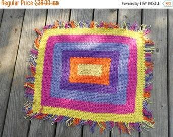 "Handmade Crochet 100% cotton 25"" x 22"" Bath Mat, Pool Mat, Door Mat, Child rug, oval rug ""Happy Hippie"" Yellow Orange Pink Lavender Lilac"