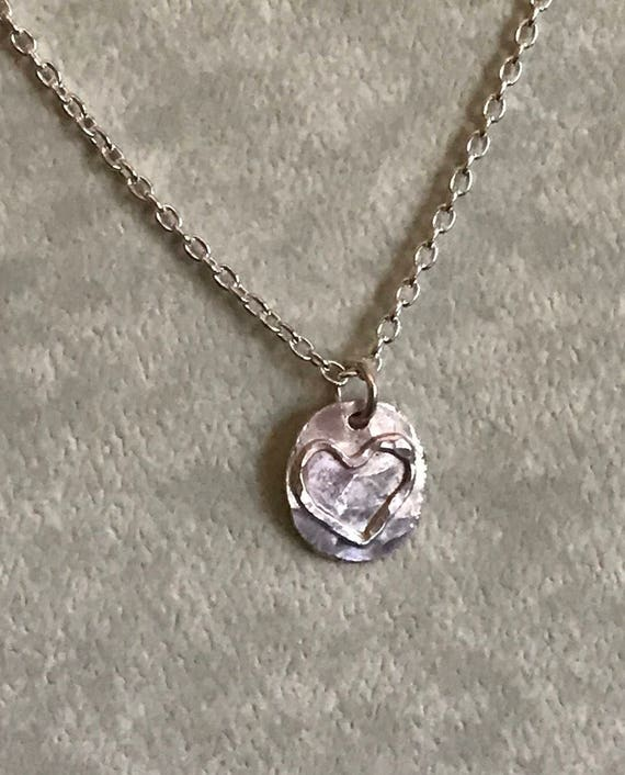 Heart necklace  love  silver heart  sweetheart gift  small disc with heart  sterling chain