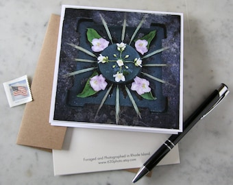 Wild White Rose Mandala ~ One 5x5 Square Note Card (with envelope, blank inside, no message)