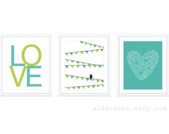 Girl Nursery Wall Art - Bird On Garland Print Love Print Heart Print - Green Aqua Nursery Decor - Modern Decor