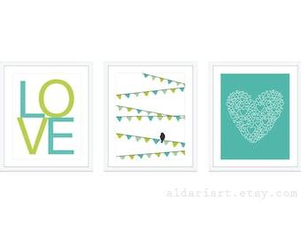 Girl Nursery Wall Art - Bird On Garland Print Love Print Heart Print - Green Aqua Nursery Decor - Modern Decor