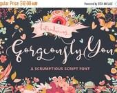 80% OFF Digital Wedding Font, Gorgeously You, Digital download, Hand drawn script font, Calligraphy, Cursive font