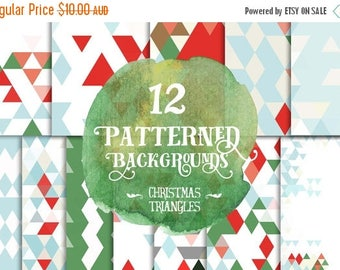 80% Off SALE Digital paper, Red and Green Christmas Triangles Paper, Digital Scrapbook paper pack, Instant download, 12 Digital Papers
