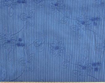 Blue Pin Stripe Embroidered Eyelet Woven Cotton, 1 Yard