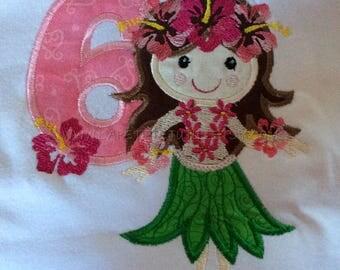 Hawaiian birthday shirt, hawaiian theme, birthday shirt, 6th birthday, cake smash, girls birthday shirt, toddler shirt, toddler clothing