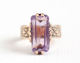 Antique Victorian 10k Rose Gold 3.90 CT Amethyst Ring - Late 1800s Vintage Size 4 3/4 Purple Rectangular Gemstone Fine Flower Jewelry