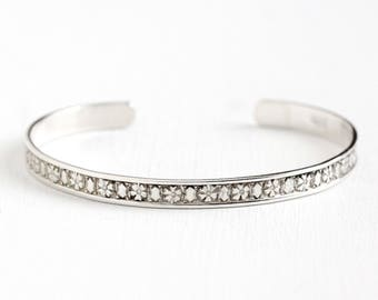 Vintage Sterling Silver Flower Cuff Bracelet - 1940s Repousse Floral Geometric Design Dainty Stacking Adjustable Thin Bangle Jewelry
