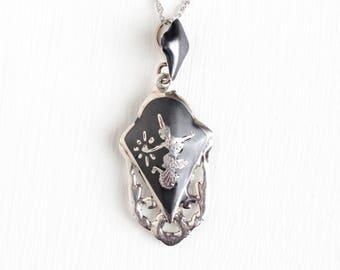 Vintage Sterling Silver Siam Lavalier Pendant Necklace - 1940s Mekkala Goddess Of Lightning Dark Niello Ramakien Lavalier Thai Jewelry