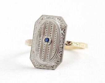 Sapphire Shield Ring - 14k Yellow Gold Platinum Art Deco Filigree - Size 7 1/2 Vintage Fine Cufflink Green Gemstone Conversion Jewelry