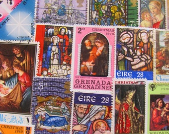 Traditional Christmas 50 Vintage Postage Stamps Religious Christian Easter XMas Nativity God Virgin Fine Art Catholic US Worldwide Philately