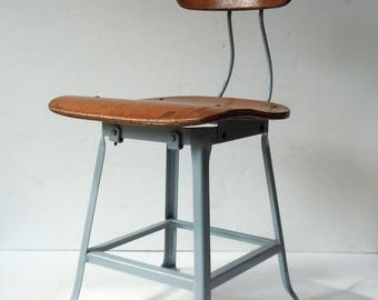Vintage Industrial Stool / Industrial Chair / Metal and Wood Stool / Shop Stool / Machine Age Chair / Studio Stool / Work Stool / Industrial