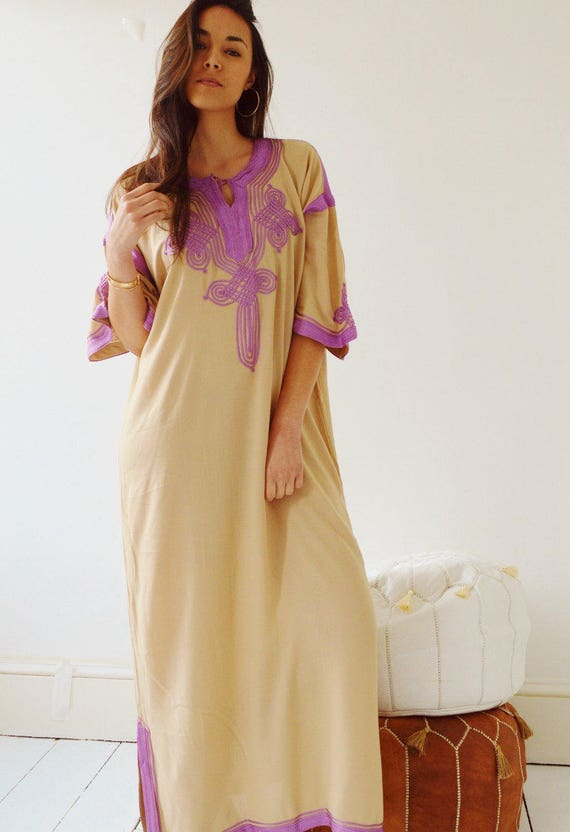 Autumn Dress Kaftan Clothing Beige with Lilac Caftan Kaftan Maxi Dress -Aziza -loungewear, as resortwear, Birthdays, Maternity, Winter dress
