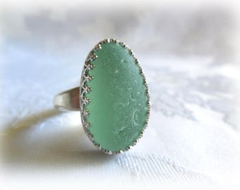 Soft Green Beach Glass Sterling Silver Ring - US Size 9