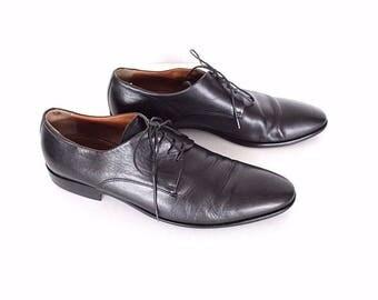 Men's Vintage NAVYBOOT Lace Up Smart Dress Black 100% Real Leather Shoes Size UK6 EU40