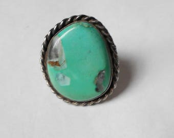 Vintage mid century  Navajo Silver Ring with Green Turquoise with Vein of Gold.  size 4.5