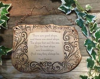 Handmade Irish Proverb Friendship Ceramic Plaque