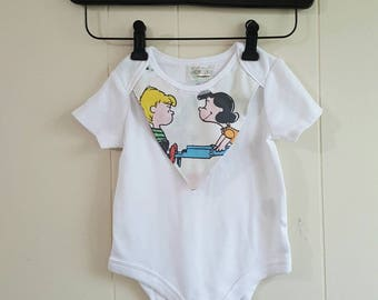 Charlie Brown built in bib onesie 18 months - snoopy baby clothes - custom available