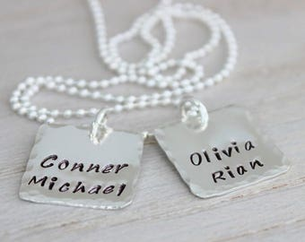 Charm Necklace with two Stamped Charms. Gift for Mothers, Mom, and Grandmothers. Kids names Necklace in Sterling silver. malisay designs