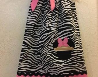 Animal Kingdom, Pink Zebra dress, Minnie Mouse dress, PINK Minnie Mouse, Disney Embroidered. 3,6,9,12,18 month 2t,3t,4t,5t,6,7,8,9,10,12.14
