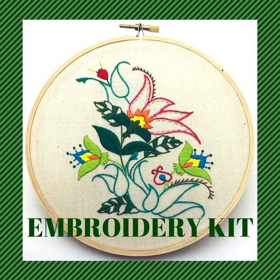 Fancy Flowers Embroidery KIT, All Levels, Whimsical, Embroidery Pattern, Hand Embroidery
