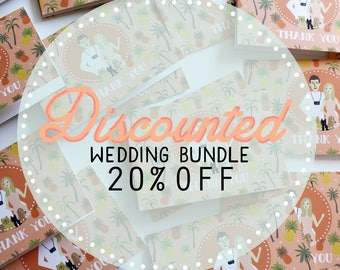 DISCOUNTED Bundle - Save the Date, Invitation Sets, Envelope Liners, Thank You Notes, Menu, Programs, Table Numbers : Custom Illustrated