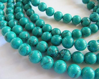 8mm Imitation Turquoise Beads in Green and Gray, 1 Strand 15in, 48 Beads, Green Gemstones, Stone Beads