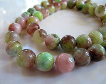8mm Mountain JADE Beads in Light Green, Pink, Mauve and Cream, Dyed, Round, 1 Strand 16 Inches, Approx 50 Beads Gemstone Beads