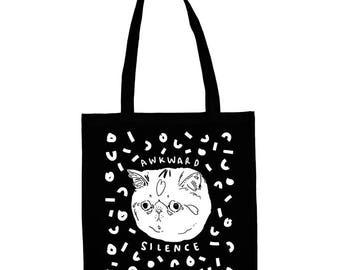 awkward silence, cat tote bag, anti social, rbs, black cat bag, crazy cat lady, illustrated tote bag, gift for cat lovers, cat tote, bag