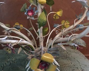 Vintage French Country Toleware Floral Chandelier
