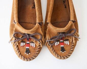 Vintage Minnetonka Moccasins Beaded Brown Suede Booties