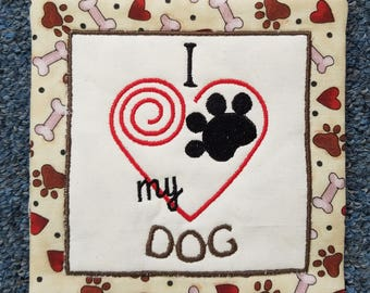 Dog Mug Rug - I love my Dog - Beige