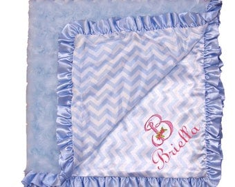Personalized Light Blue Chevron Satin Plush Rosette Ruffled Baby Blanket