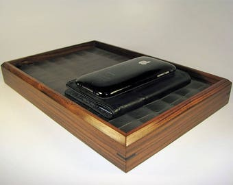 Modern Low Profile Wooden Leather Valet Tray in Exotic Bolivian Rosewood. Premium Valet Box. Leather Upholstered. 10.5″ x 7″ x 1.5″